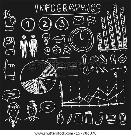 info graphics set on chalkboard vector illustration hand drawn doodle design element and icon