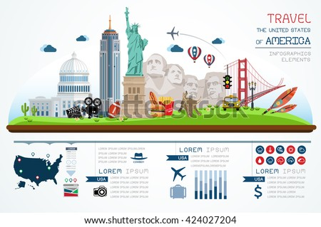 Info graphics travel and landmark america template design. Concept Vector Illustration