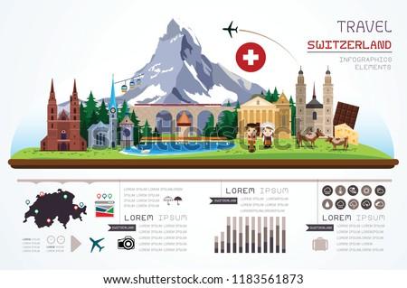 Info graphics travel and landmark Switzerland template design. Vector Illustration