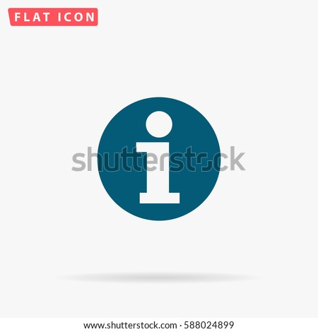 Info Icon Vector. Flat simple Blue pictogram on white background. Illustration symbol with shadow.