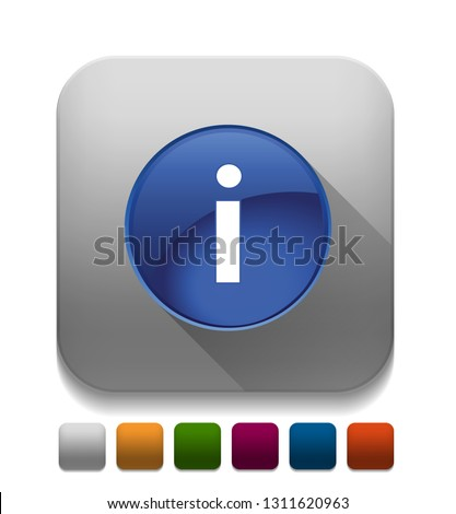 info icon With long shadow over app button