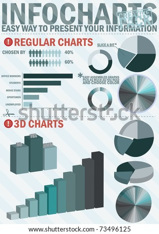 Infochart creative pack.Easy assembling elements for presentation and graph