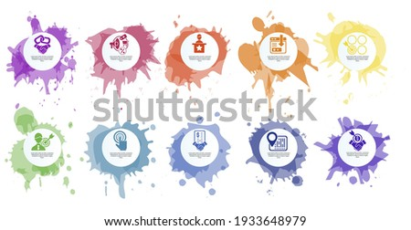 Infographic Affiliate Marketing template. Icons in different colors. Include Affiliate Link, Attribution, Authority Site, Landing Page and others. Photo stock ©