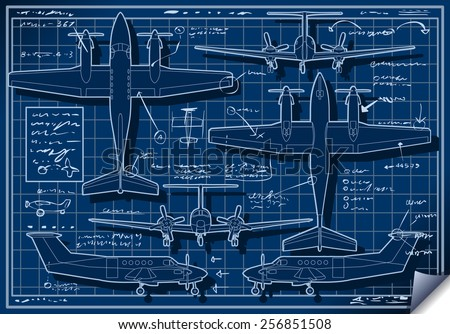 Infographic Airplane Blue Print Plane Project.