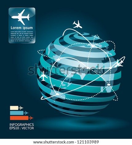 infographic airplane connections network concept design / vector illustration