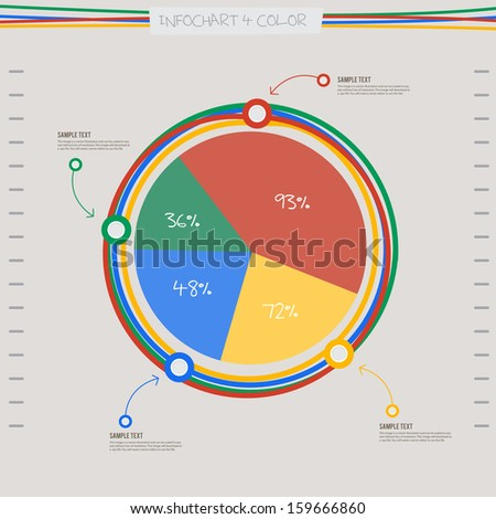 ... graph chart in 4 color and line spiral. for layout design template
