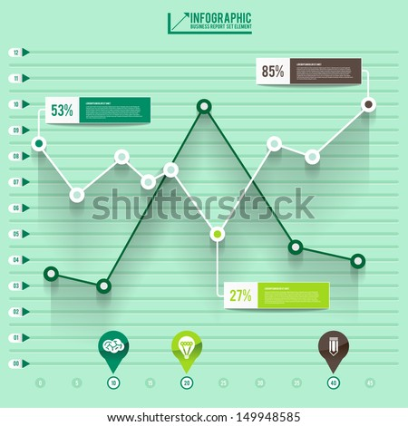 infographic arrow diagram graph chart on the green pastel blackground with flat design and long shadow can be use element for layout design website printing annual report