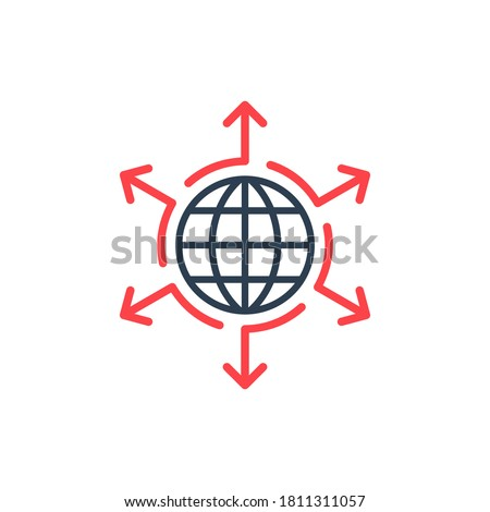 Infographic arrows around globe. Grow expand spread your company idea influence concept elements icon logo. Arrows in different direction. Stock vector illustration isolated on white background. Foto d'archivio ©