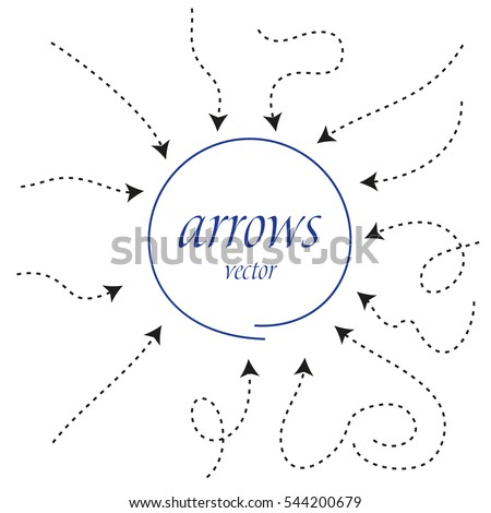 infographic Arrows. Dynamic vector arrow symbol isolated. arrows and circle in flat style. black hand drawn.