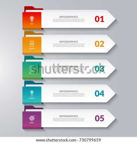 Infographic arrows. 5 options, steps, parts. Vector design elements for infographics. Can be used for workflow layout, diagram chart, graph, web design.