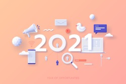 Infographic banner template with 2021 date, megaphone, laptop, smartphone. Concept of year of opportunities in SMM, digital marketing, internet advertising, social media. Modern vector illustration.