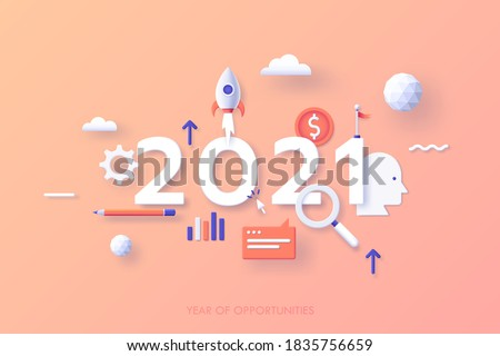 Infographic banner template with 2021 date, spaceship, magnifier, coin, flag. Concept of year of opportunities for entrepreneurship, business start, startup project launch. Modern vector illustration.