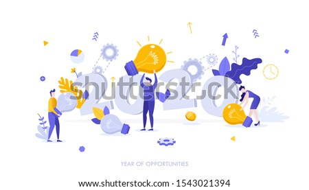 Infographic banner template with group of people carrying lightbulbs. 2020 - year of opportunities. Perspectives in creation of innovative ideas or technologies. Vector illustration in flat style.