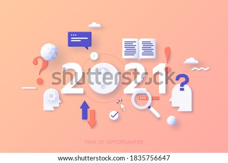 Infographic banner template with 2021 number, heads, exclamation mark, interrogation point, magnifier. Concept of year of opportunities in search for information, user guides. Vector illustration. Foto stock ©