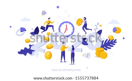 Infographic banner template with people, dollar coins and 2020 number. Concept of year of opportunities in company's profit growth, investment, financial market. Modern flat vector illustration.