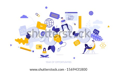 Infographic banner template with programmers working on laptop computers and 2020 number. Concept of year of opportunities in back-end and front-end coding, web programming. Flat vector illustration.