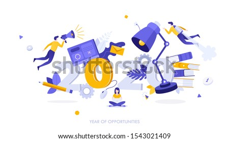 Infographic banner template with students, lamp, textbooks levitating around 2020 number. Concept of year of opportunities in university education, academic studies. Modern flat vector illustration.