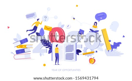 Infographic banner template with students reading textbooks and 2020 date. Concept of year of opportunities in education, learning, university studies, knowledge. Modern flat vector illustration.