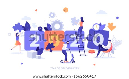 Infographic banner template with working people, jigsaw puzzle pieces and 2020 number. Year of opportunities and perspectives in startup project management, teamwork. Modern flat vector illustration.