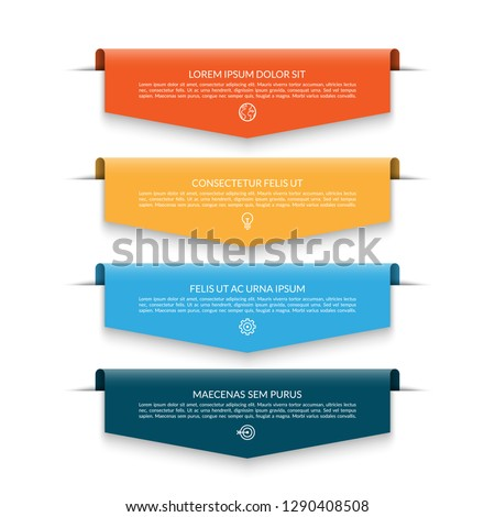 Infographic banner with 4 colorful arrows, labels, tags. Origami style. Can be used for diagram, numbers, options, chart, report, web design