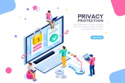 Infographic, banner with hero protect data and confidentiality. Safety and confidential data protection, concept with character saving code and check access. Flat isometric vector illustration