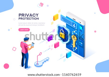 Infographic, banner with hero protect data and confidentiality. Safety and confidential data protection, concept with character saving code and check access. Flat isometric vector illustration.