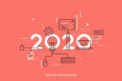 Infographic banner 2020 year of opportunities. New hot trends and prospects in software, front-end web development, program coding, programming languages. Vector illustration in thin line style.