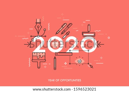 Infographic banner 2020 year of opportunities. New trends and prospects in graphic, web and digital design, concepts, techniques and tools for designers. Vector illustration in thin line style.