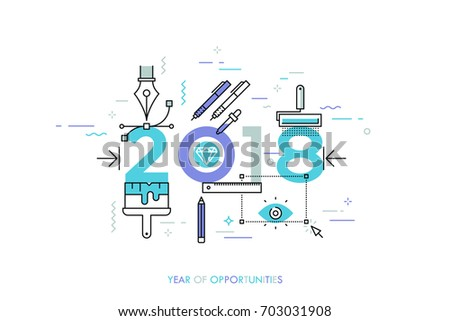 Infographic banner 2018 year of opportunities. New trends and prospects in graphic, web and digital design, concepts, techniques and tools for designers. Vector illustration in thin line style.