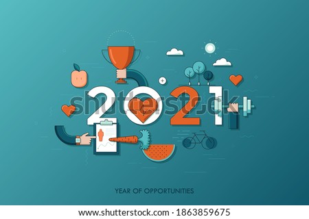 Infographic banner 2021 year of opportunities. New trends and prospects in healthcare, sports, fitness, lifestyle, sport nutrition. Plans and predictions. Vector illustration in thin line style.