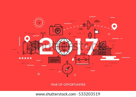 Infographic banner: 2017 - year of opportunities. New trends and prospects in tourism, trips, touristic services and travel applications. Plans and predictions. Vector illustration in thin line style.
