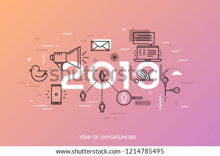 Infographic banner, 2019 - year of opportunities. Trends, predictions and expectations in social media technologies, networks, mobile apps, internet messengers. Vector illustration in thin line style.