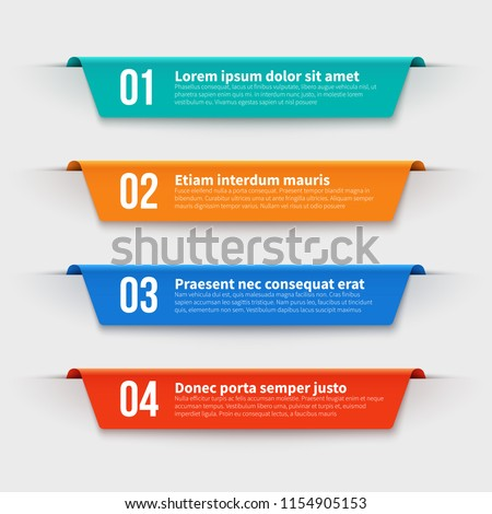 Infographic banners. Color labels with steps and options vector set. Illustration of banner label layout with numbers