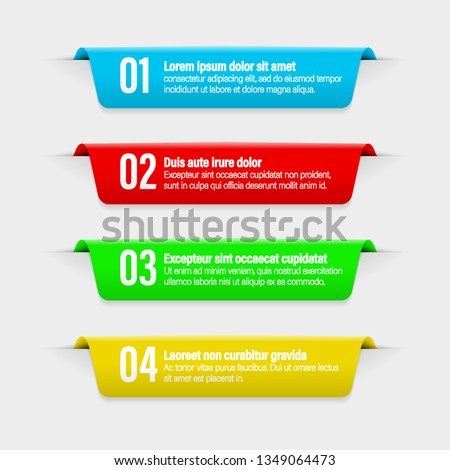 Infographic banners.Illustration of banner label layout with numbers.Color ribbon labels with steps and options vector set.All elements are isolated.EPS 10.