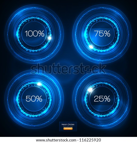 infographic blue neon vector