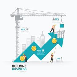 Infographic business arrow shape template design.building to success concept vector illustration / graphic or web design layout.