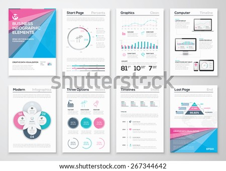 Infographic business brochure templates for data visualization. Use in website, corporate brochure, advertising and marketing. Pie charts, line graphs, bar graphs and timelines.