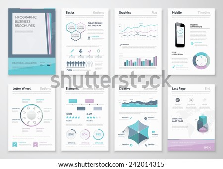 Infographic business brochures for corporate data visualization. Big set of modern infographic vector elements for web, print, magazine, flyer, brochure, media, marketing and advertising concepts.