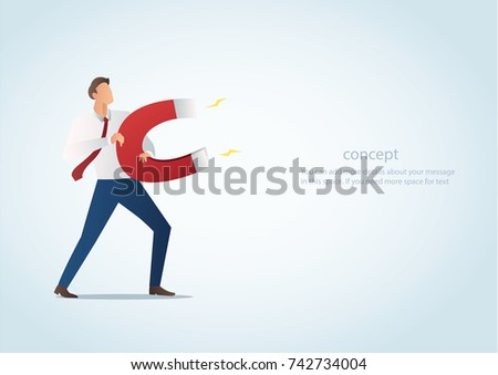 infographic business concept of businessman attracting with magnet vector illustration