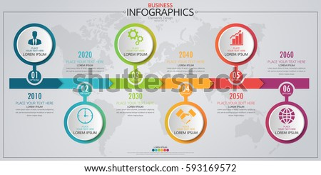 Infographic business horizontal timeline process chart template. Vector modern banner used for presentation and workflow layout diagram, web design. Abstract elements of graph 6 steps options.