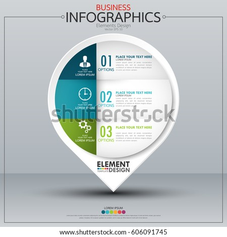 Infographic business horizontal timeline process chart template. Vector modern banner used for presentation and workflow layout diagram, web design. Abstract elements of graph 3 steps options.