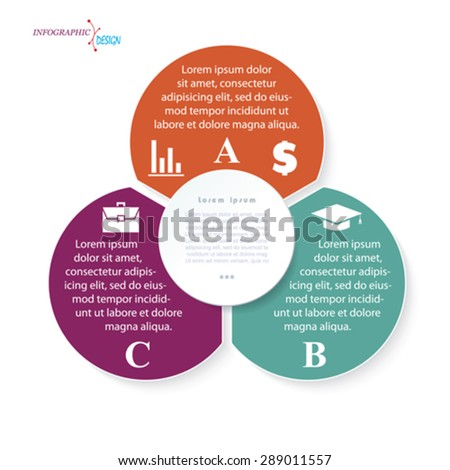 Infographic business  template for  project or presentation with three circle segments. Vector illustration can be used for web design, workflow or graphic layout, diagram, education