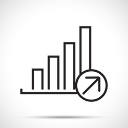 Infographic. Chart icon. Growing graph symbol. Black on white background. Flat design style.
