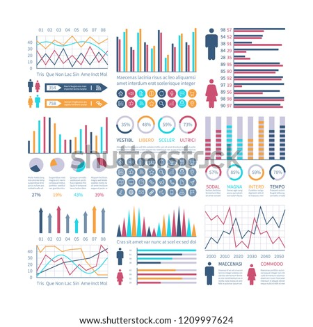 Infographic charts. Financial flow chart trends graph. Population infocharts. Statistics bar diagram. Presentation vector infographics
