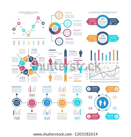 Infographic charts. Infochart elements, marketing chart and graphs, bar diagrams. Step and option process graph and timeline vector set. Illustration of chart and graph bar, infographic and infochart