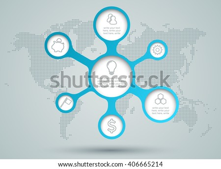 Infographic Circle Diagram Icons With Dots World Map Back Drop