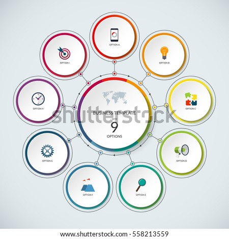 Shutterstock Infographic circle. Modern minimalistic template with 9 options. Vector banner, what can be used as circular chart, cycle diagram, graph, workflow layout for report, business presentation, web design.