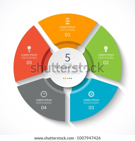 Infographic circle. Process chart. Vector diagram with 5 options. Can be used for graph, presentation, report, step options, web design.