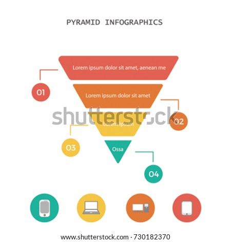 Infographic colorful pyramid inverted with 4 floors and icons.