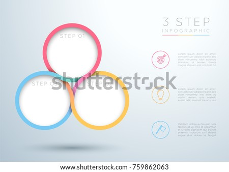 infographic colourful 3 step